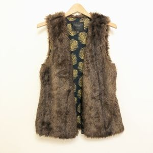 Sanctuary Brown Faux Fur Vest XS